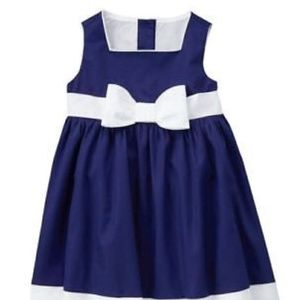 Navy & White Tank Dress with white accent bow